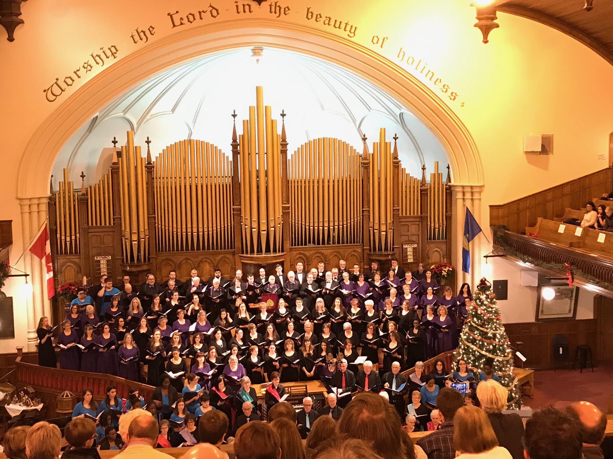 Concert de Noël 2018, First Presbyterian Church avec les chorales Chantamis, Mélodie d'Amour, Ensemble Clé, Chorale Saint-Jean et les Petits chanteurs de Saint-Jean.